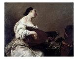 Woman Playing a Lute Giclée-tryk af Giuseppe Maria Crespi
