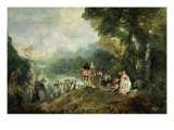 The Embarkation for Cythera Giclée-tryk af Jean Antoine Watteau