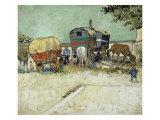 Les roulottes, campement de bohémiens aux environs d'Arles Reproduction procédé giclée par Vincent van Gogh