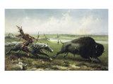 Buffalo Hunt Gicléetryck av Frederick Walker