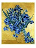 アイリスを生けた花瓶の静物(黄色の背景) ジクレープリント : フィンセント・ファン・ゴッホ