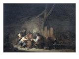 Peasants Drinking and Smoking in an Interior Giclée-Druck von Adrien Van Ostade