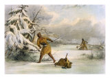 Spearing Muskrats in Winter Giclee Print by Seth Eastman