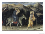Flight into Egypt (Predella Detail from Adoration Giclée-tryk af  Gentile Da Fabriano