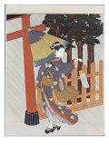 Geisha Visiting a Shrine Giclee Print by Suzuki Harunobu
