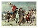 Capt Cook Landing at Botany Bay Giclée-tryk af Emanuel Phillips Fox