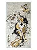 Woman Carrying Bamboo with Charms Giclee Print by Torii Kuyonobu