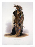 """Wahk-Ta-Ge-Li, a Sioux Warrior, Plate 8 from Volume 2 of """"Travels in the Interior of North America"""" Stampa giclée di Karl Bodmer"""