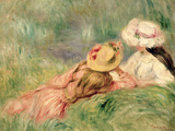 Young Girls on the River Bank Giclee Print by Pierre-Auguste Renoir