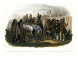 The Travellers Meeting with Minatarre Indians Near Fort Clark, Plate 26 Stampa giclée di Karl Bodmer