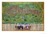 "Map of Venice, from ""Civitates Orbis Terrarum"" by Georg Braun and Frans Hogenberg, circa 1572 Giclee Print by Joris Hoefnagel"