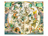 Celestial Planisphere Showing the Signs of the Zodiac Impressão giclée por Andreas Cellarius