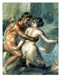 Satyr and Maenad, Detail from a Wall Painting in Pompeii, 1st Century BC Giclée-tryk