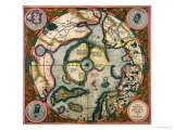 Septentrionalium Terrarum Descriptio, Map of the Arctic, 1595 Giclee-trykk av Gerardus Mercator