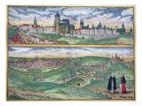 "Map of Prague, from ""Civitates Orbis Terrarum"" by Georg Braun and Frans Hogenberg, circa 1572 Giclee Print by Joris Hoefnagel"