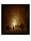 Riders and Pedestrians Passing Through an Arched Passage Giclee Print by Hubert Robert