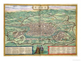 "Map of Rome, from ""Civitates Orbis Terrarum"" by Georg Braun and Frans Hogenberg, circa 1572 Giclee Print by Joris Hoefnagel"
