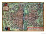 "Map of Paris, from ""Civitates Orbis Terrarum"" by Georg Braun and Frans Hogenberg, circa 1572 Giclee Print by Joris Hoefnagel"