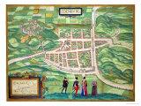 "Edinburgh Map, from ""Civitates Orbis Terrarum"" by Georg Braun and Frans Hogenberg circa 1572-1617 Giclee Print by Joris Hoefnagel"