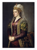 Portrait of Caterina Cornaro Wife of King James II of Cyprus Giclée-tryk af  Titian (Tiziano Vecelli)