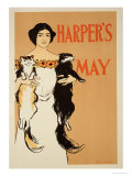 """Reproduction of a Poster Advertising the May Issue of """"Harper's Magazine,"""" 1897 Giclee Print by Edward Penfield"""