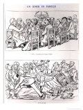 Caricature of a Family Dinner Before and after Having Talked About the Dreyfus Affair, circa 1894 Giclee Print by Emmanuel Poire Caran D'ache
