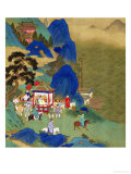 Emperor Ch'In Wang Ti Travelling in a Palanquin, from a History of Chinese Emperors Giclée-tryk