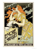 """Reproduction of a Poster Advertising """"Marquet Ink,"""" 1892 Giclee Print by Eugene Grasset"""