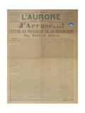J'Accuse Letter by Emile Zola, Published in L'Aurore, 13th January 1898 Reproduction procédé giclée