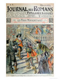 """Front Cover of a Serialisation of """"The Three Musketeers"""" Gicléetryck av Eugene Damblans"""