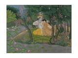 Krishna and Radha Embracing in a Grove, Kangra, Himachal Pradesh, Pahari School, c. 1785 Lámina giclée