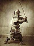 Samurai with Raised Sword, circa 1860 Giclée-tryk af Felice Beato