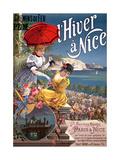 Winter in Nice, Poster Advertising P.L.M Trains Reproduction procédé giclée par Hugo D' Alesi