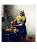 Mulher que trabalha na ordenha, cerca de 1658 a 1660 Impressão giclée por Johannes Vermeer