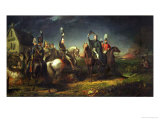 The Meeting of the Duke of Wellington and Field Marshal Blucher Reproduction procédé giclée par Thomas Jones Barker