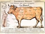 Nötkött: Diagram som visar olika styckningsdelar, franska Gicléetryck