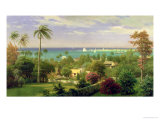 Panoramic View of the Harbour at Nassau in the Bahamas Giclée-tryk af Albert Bierstadt