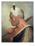 A Maori Warrior Giclée-tryk af Charles Frederick Goldie