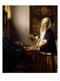 天秤を持つ女 1664年 プレミアムジクレープリント : ヨハネス・フェルメール
