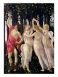 Primavera: Detail of the Three Graces and Mercury Giclee Print by Sandro Botticelli
