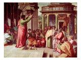 St. Paul Preaching at Athens (Sketch for the Sistine Chapel) (Pre-Restoration) Reproduction procédé giclée par  Raphael
