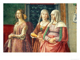 Florentine Ladies, from the Birth of St. John the Baptist (Detail) Giclée-tryk af Domenico Ghirlandaio