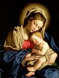 Madonna med barnet Giclée-tryk af  Giovanni Battista Salvi da Sassoferrato