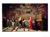 Galileo Galilei Before Members of the Holy Office in the Vatican in 1633, 1847 Giclee Print by Joseph-Nicolas Robert-Fleury