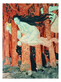 Three Women and Three Wolves (W/C) Giclee Print by Eugene Grasset