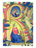 "The Annunciation Depicted in an Historiated Initial ""R"" Giclee Print by  Fra Angelico"