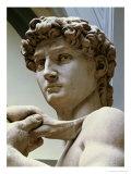 David, Detail of the Head, 1504 Giclée-tryk af Michelangelo Buonarroti,