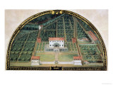 Villa Poggio a Caiano from a Series of Lunettes Depicting Views of the Medici Villas, 1599 Reproduction procédé giclée par Giusto Utens