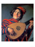 Portrait of a Jester with a Lute Giclee Print by Frans Hals