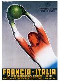 Francia-Italia Football, 1935 Giclée-tryk af T. Corbella